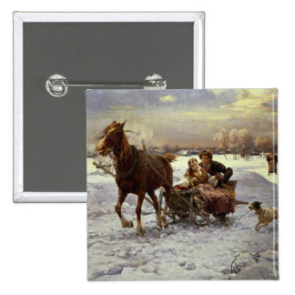 Lovers in a sleigh pinback button