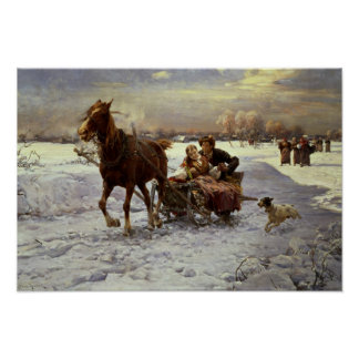 Lovers in a sleigh poster