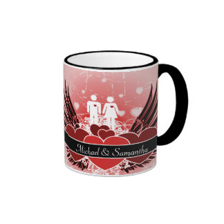 Lovers In Love Winged Hearts Ringer Coffee Mug