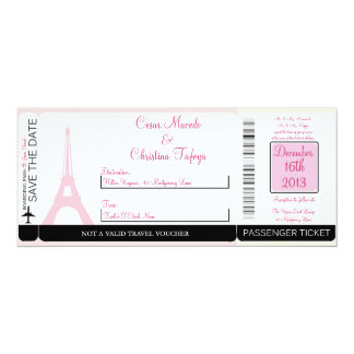 Lovers in Paris Boarding Pass Wedding Invitation