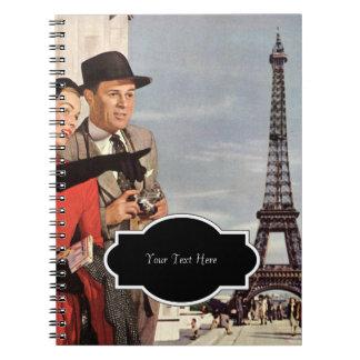Lovers in Paris Vintage Illustration Spiral Note Book
