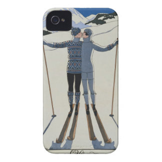 <Lovers in the Snow> by Georges Barbier iPhone 4 Cover