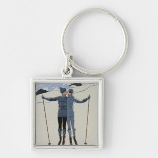 <Lovers in the Snow> by Georges Barbier Keychain