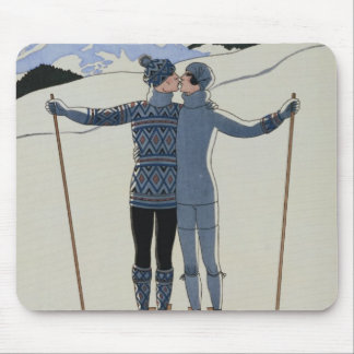 <Lovers in the Snow> by Georges Barbier Mouse Pad