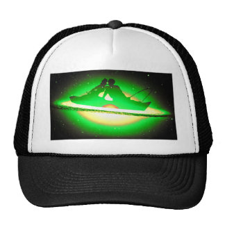 Lovers Kissing and Fishing on a greenish Galaxy. Trucker Hat