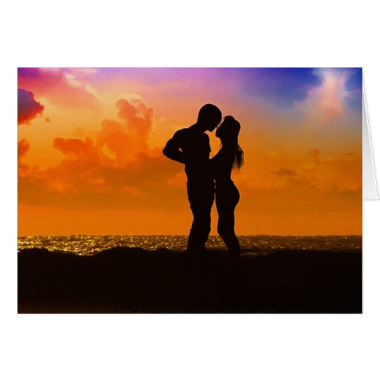 Lovers Kissing at Sunset on the Beach Card