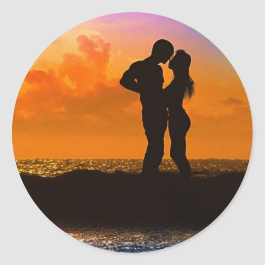 Lovers Kissing at Sunset on the Beach Classic Round Sticker