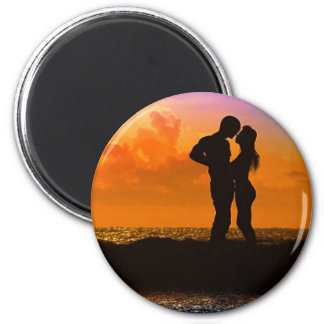 Lovers Kissing at Sunset on the Beach Magnet