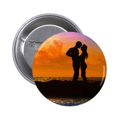 Lovers Kissing at Sunset on the Beach Pin
