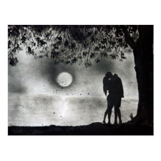 Lovers Kissing under tree Postcard