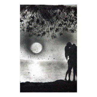 Lovers Kissing under tree Stationery