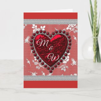 Lovers Monogram Valentine Heart Holiday Card