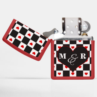 Lovers Monograms Checkerboard with Heart Zippo Lighter