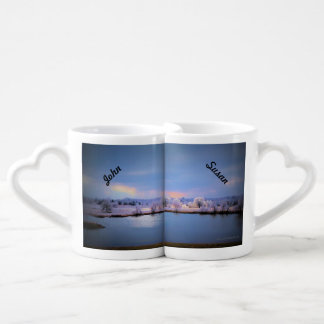 Lover's Mug, Icy Pond and Willows in Pastels Couples' Coffee Mug Set