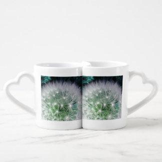 Lovers mug set dandelion with waterdrops