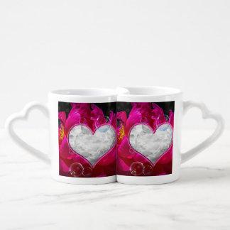 Lovers mug, with a peony in a peony coffee mug set