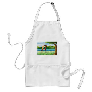 Lovers near the river adult apron