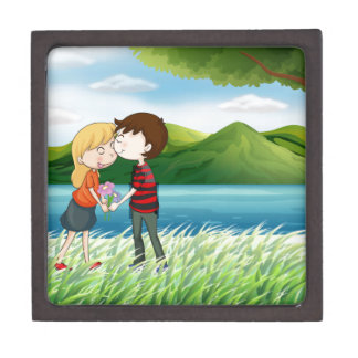 Lovers near the river gift box