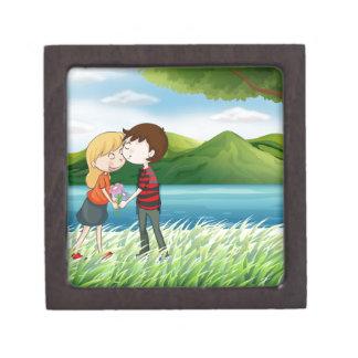 Lovers near the river keepsake box