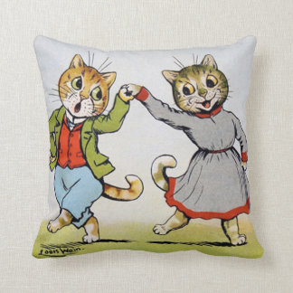 Lovers of cats, Louis Wain Throw Pillow