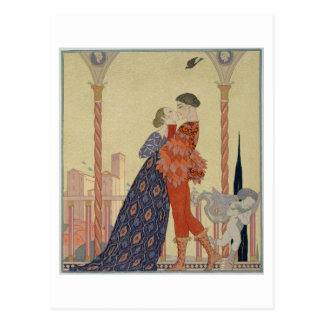Lovers on a Balcony (w/c on paper) Postcard