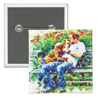 Lovers on a Bench, Pointillism Pin
