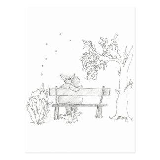 Lovers on a bench sketch 1953 Vintage Postcard