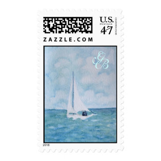 Lovers on a sailboat, postage stamp