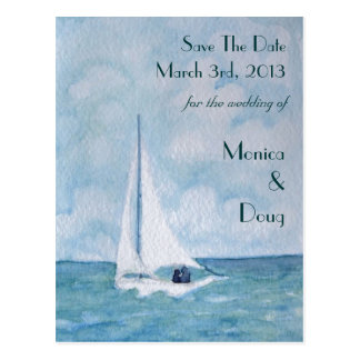 Lovers on a sailboat, Save The Date postcard