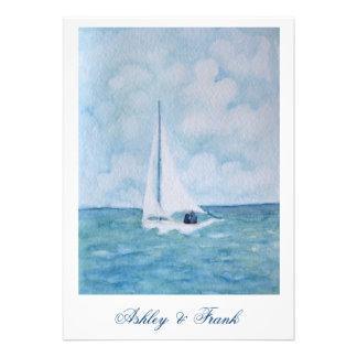 Lovers on a sailboat - wedding invitation