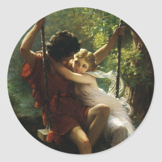 Lovers on a Swing. Spring by Pierre Auguste Cot Classic Round Sticker