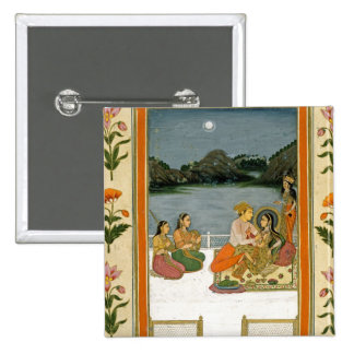 Lovers on a terrace by a moonlit lake, from the Sm 2 Inch Square Button