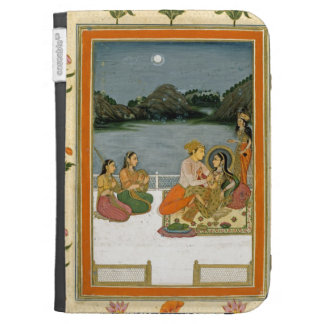Lovers on a terrace by a moonlit lake, from the Sm Kindle Folio Cases