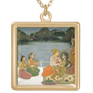 Lovers on a terrace by a moonlit lake, from the Sm Square Pendant Necklace