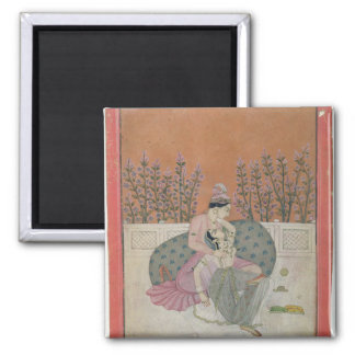 Lovers on a Terrace, Pahari 2 Inch Square Magnet