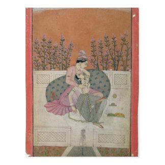 Lovers on a Terrace, Pahari Postcard