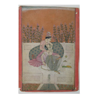 Lovers on a Terrace, Pahari Poster