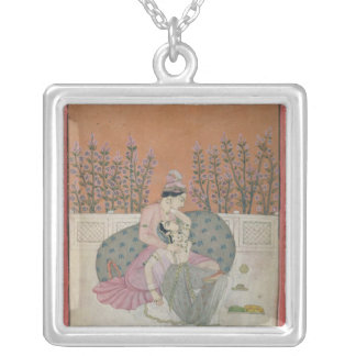 Lovers on a Terrace, Pahari Silver Plated Necklace