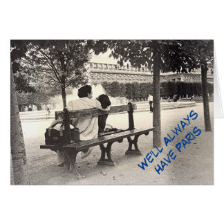 """""""LOVERS ON PARK BENCH IN PARIS""""/LOVE,RELATIONSHIP CARD"""