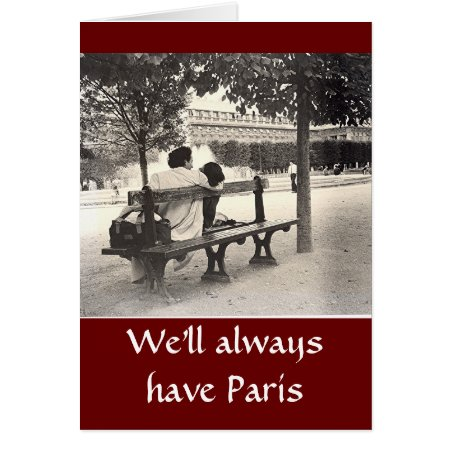 """lovers On Park Bench In Paris"" Valentine Card"