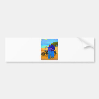 Lovers on the Beach with Motorcycle Car Bumper Sticker