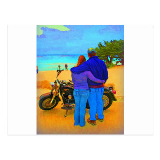 Lovers on the Beach with Motorcycle Postcard
