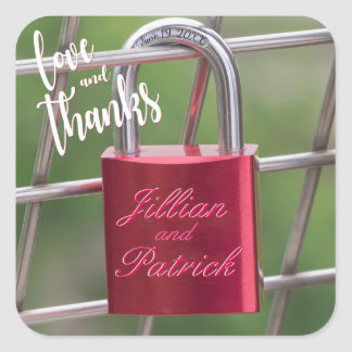 Lovers Padlock Red Chain Link Fence Thank You Square Sticker