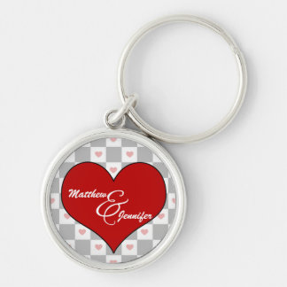 Lover's Red Heart Checkerboard | Custom Keychain