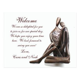 Lovers Sculpture Wedding Welcome Bag Note Postcard