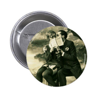Lovers Secrets Sexy Vintage Pin-Up Couple Love Button