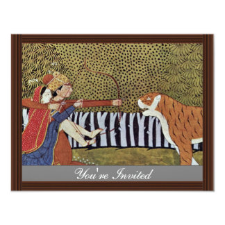 "Lovers Shoot At A Tiger In The Jungle. Illustratio 4.25"" X 5.5"" Invitation Card"