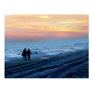 Lovers Sunset Beach Walk Postcard