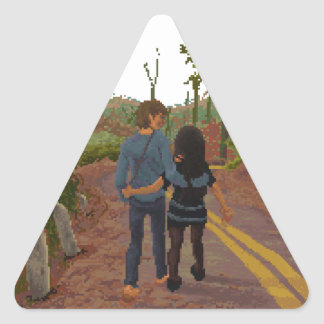 lovers taking a walk triangle sticker