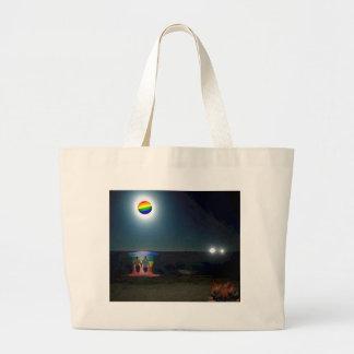 Lovers Under the Gay Pride Moon Tote Bags
